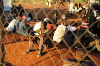 Zimbabwean migrants at a temporary shelter in South Africa. Photo: Guy Oliver/IRIN