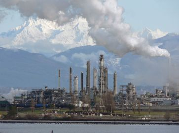 Anacortes Refinery (Tesoro), on the north end of March Point southeast of Anacortes, Washington