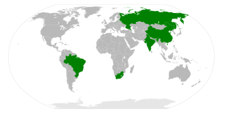 BRICS (Brazil, Russia, India, China, and South Africa) | Author: Cflm001 (talk) | Public Domain | Wikimedia Commons