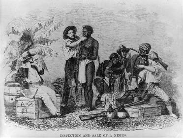 **A slave being inspected, from Captain Canot; or, Twenty Years of an African Slaver | Brantz Mayer | Wikimedia Commons