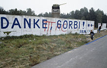 """**Germany becomes one country. October 3, 1990 the German Democratic Republic is falling under the FRG's Constitution. The message on the wall: """"Thank you, Gorbi"""".   Author: Boris Babanov / Борис Бабанов   Permission: Commons: RIA Novosti   Wikimedia Commons."""