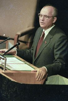 *****Image: Gorbachev addressing the United Nations General Assembly in December 1988. During the speech he dramatically announced deep unilateral cuts in Soviet military forces in Eastern Europe.   Author: Yuryi Abramochkin / Юрий Абрамочкин   Permission: Commons:RIA Novosti   Wikimedia Commons.