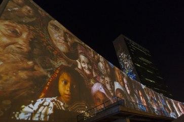 "Ahead of Secretary-General Ban Ki-moon's Climate Summit, UN Headquarters becomes canvas for ""Illuminations"" projection display. 20 September 2014 UN Photo/Mark Garten"