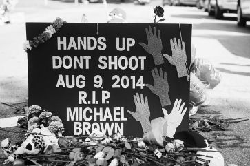 **Black and white photo of a memorial placed during protests.   20 August 2014   Author: Jamelle Bouie   Wikimedia Commons