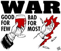 "****Image: An anti-war poster | ""War 2"" by Carlos Latuff. | Author: Carlos Latuff Link back to Creator infobox template wikidata:Q466165 | Source: http://latuff2.deviantart.com/art/War-2-27832944 | Wikimedia Commons"