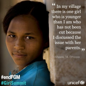 Meaza was 10 when she was subjected to female genital mutilation (FGM). She now campaigns to protect other girls from this harmful practice. FGM is declining in Ethiopia and many countries around the world, but still too many girls are at risk. We must do more. Credits: UNICEF/NYHQ2009-2259/HOLT