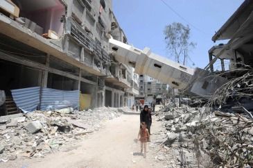 Heavily damaged buildings in Gaza. Photo: UNRWA Archives/Shareef Sarhan