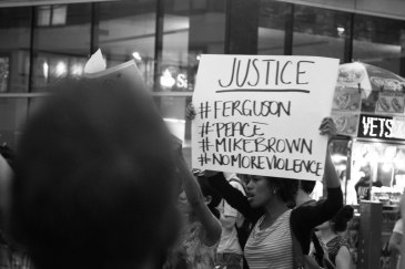 Protestors gather in New York City to demonstrate against the police shooting of Michael Brown (August 2014). Photo: Loey Felipe   Source: UN News Centre