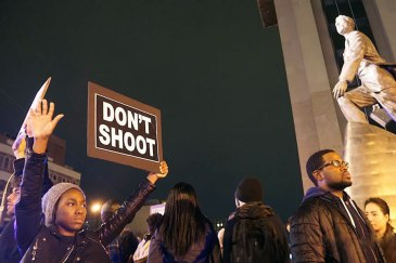 "Protestors in New York City demonstrate in the wake of the verdict in the case of the police shooting of Missouri teenager Michael Brown (24 November 2014). Photo: Jacques Baudrier | Source"" UN News Centre"