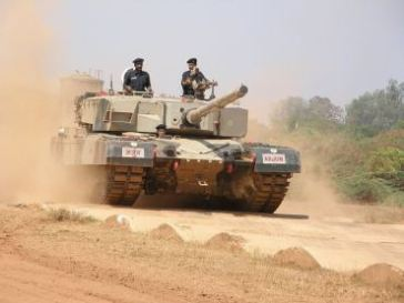 An Arjun MBT being test driven on the bump track at the Central Vehicles Research and Development Establishment (CVRDE), at Avadi, Chennai | Source: Image, taken from Ajai Shukla's blog at ajaishukla.blogspot.com | Author: Ajai Shukla, uploaded by User:Sniperz11| Wikimedia Commons