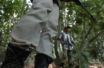 **Photo: Jefri Aries/IRIN | Aceh rebels with GAM stand guard during a jungle patrol in Jantho, Aceh Besar (File photo 2004)