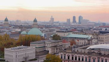 **Central Berlin. Unter den Linden in foreground and skyscrapers of Potsdamer Platz up to the right.| Author: Bleppo : Wikimedia Commons.