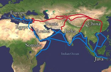 ***By the medieval era most of the countries on the Silk Road were Muslim majority. | Author: Whole_world_-_land_and_oceans_12000.jpg: NASA/Goddard Space Flight Center | Wikimedia Commons