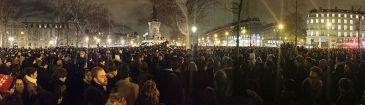 Demonstrators gather at the Place de la République in Paris,  7 January 2015 | Author: JeSuisGodefroyTroude | Wikimedia Commons