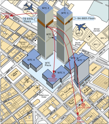 **A diagram showing the areas where debris from American Airlines Flight 11 and United Airlines Flight 175 fell upon Lower Manhattan during the course of the September 11 terror attacks. | Author: calm (talk) | Wikimedia Commons