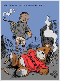 **The first victim of a child soldier - Childhood | 2008 poster by Rafaela Tasca and Carlos Latuff | Free Art License | Source: http://www.indymedia.org.uk/en/2008/01/389381.html | Wikimedia Commons