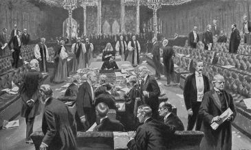 **An important vote: the House of Lords voting for the Parliament Act 1911 | Author: Samuel Begg (died 1919) | Source: The Rise of the Democracy, by Joseph Clayton, Project Gutenberg eText 19609 | Wikimedia Commons