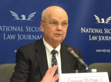**General (Ret.) Michael Hayden speaks at the National Security Law Journal symposium on cybersecurity April 2, 2013, in Washington, D.C.   Author: National Security Law Journal   Wikimedia Commons