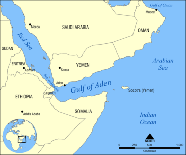 **Map showing the location of the Gulf of Aden, located between Yemen and Somalia. Nearby bodies of water include the Indian Ocean, Red Sea, Arabian Sea, and the Bab-el-Mandeb Strait. | Author: NormanEinstein | Wikimedia Commons