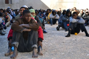 Migrants at a detention centre in the city of Zawiya, Libya. Photo: Mathieu Galtier/IRIN