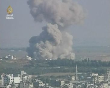 ****An explosion caused by an Israeli airstrike in Gaza during the Gaza War. | Author: Al Jazeera | Wikimedia Commons