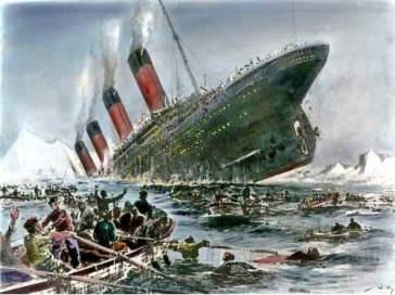 **Titanic sinking (Colourized) | Artist: Willy Stöwer, 1912 | Source/Photographer: Magazine Die Gartenlaube, en:Die Gartenlaube and de:Die Gartenlaube | Wikimedia Commons