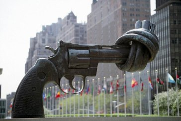 """""""Non-Violence,"""" a sculpture by Karl Fredrik Reutersward, sits permanently outside UN Headquarters in New York 