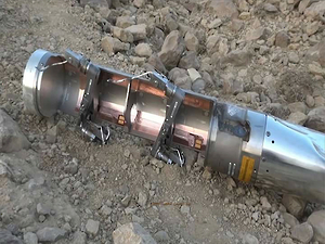An expended BLU-108 canister from a CBU-105 Sensor Fuzed Weapon found in the al-Amar area of al-Safraa, Saada governorate, in northern Yemen on April 17, 2015. © 2015 Private | Source: Human Rights Watch