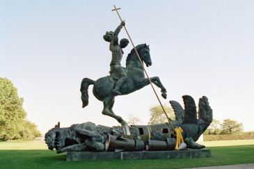 Sculpture depicting St. George slaying the dragon. The dragon is created from fragments of Soviet SS-20 and United States Pershing nuclear missiles. UN Photo/Milton Grant