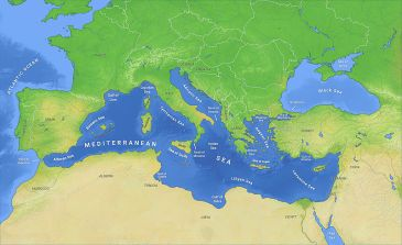 **Map of the Mediterranean Sea with subdivisions, straits, islands and countries | Author: O H 237 | Wikiemdia Commons