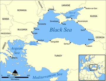 *****A map showing the location of the Black Sea and some of the large or prominent ports around it. The Sea of Azov and Sea of Marmara are also labelled. | Author: Created by User:NormanEinstein | Wikimedia Commons