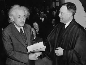***Albert Einstein receiving from Judge Phillip Forman his certificate of American citizenship.| Author: Al. Aumuller | World-Telegram photo grants anyone the right to use this work for any purpose, without any conditions, unless such conditions are required by law. | Wikimedia Commons
