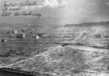**Aftermath of the atomic bomb explosion over Hiroshima, August 6, 1945 with writing of Paul Tibbets | Source: http://www.chinfo.navy.mil/navpalib/images/historical/hiroshima.jpg | Author: U.S. Navy Public Affairs Resources Website | Permission: http://www.chinfo.navy.mil/chinfoprivacy.html | Wikimedia Commons