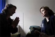 A displaced Bosnian woman talks to UNHCR Goodwill Ambassador Angelina Jolie in the eastern Bosnian town of Gorazde.