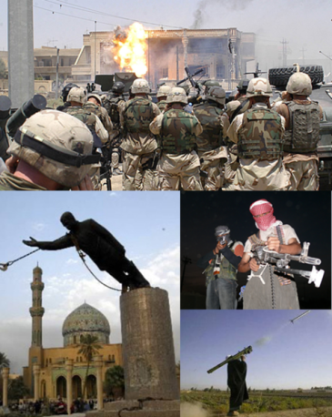 **Clockwise from top: Delta Force of Task Force 20 alongside troops of 3rd Battalion, 327th Infantry Regiment, at Uday Hussain and Qusay Hussein's hideout.; Iraqi insurgents in northern Iraq; an Iraqi insurgent firing a MANPADS; the toppling of the Saddam Hussein statue in Firdos Square. | Author: Futuretrillionaire | Wikimedia Commons