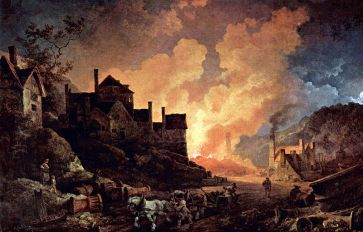 **Coalbrookdale by Night by Philip James de Loutherbourg, painted 1801. This shows Madeley Wood (or Bedlam) Furnaces, which belonged to the Coalbrookdale Company from 1776 to 1796. | Depicted place: Madeley Wood Furnaces, Coalbrookdale | Wikimedia Commons