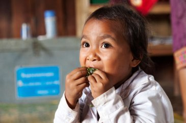 Through a national school feeding program in Oudomxay province, Lao PDR, students get at least a third of their daily energy and nutrition needs. Seen here, a student enjoys her vegetables. Photo: Bart Verweij/World Bank | Source: UN
