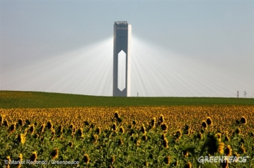 Looking more like a enlightened being bursting from a holy church, this tower which sits at Sanlucar la Mayor outside Seville, Spain can provide electricity for up to 6,000 homes.   Credit: Markel Redondo/Greenpeace