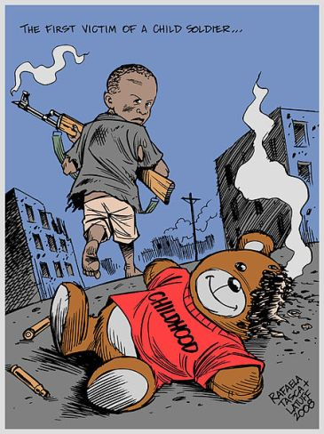 *****The first victim of a child soldier - Childhood | 2008 | Authors; Rafaela Tasca and Carlos Latuff | Source: http://www.indymedia.org.uk/en/2008/01/389381.html | Free Art License | Wikimedia Commons