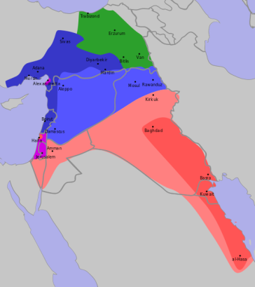 The Sykes-Picot (-Sazonov) agreement, 1916.