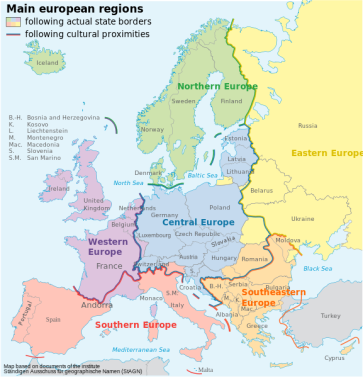 ***Subdivision of Europe according to the cultural criteria | Author: Grossgliederung_Europas.svg: NordNordWest |    derivative work: Dch (talk) | Source: Grossgliederung_Europas.svg | Wikimedia Commons