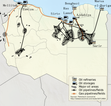 **Oil is the major natural resource of Libya, with estimated reserves of 43.6 billion barrels | Libyan oil fields and pipelines, 2011. | Author: NordNordWest, Yug | Wikimedia Commons