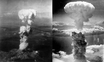 **Image: Left picture : At the time this photo was made, smoke billowed 20,000 feet above Hiroshima while smoke from the burst of the first atomic bomb had spread over 10,000 feet on the target at the base of the rising column. Six planes of the 509th Composite Group, participated in this mission; one to carry the bomb Enola Gay, one to take scientific measurements of the blast The Great Artiste, the third to take photographs Necessary Evil the others flew approximately an hour ahead to act as weather scouts, 08/06/1945. Bad weather would disqualify a target as the scientists insisted on a visual delivery, the primary target was Hiroshima, secondary was Kokura, and tertiary was Nagasaki. | Right picture : Atomic bombing of Nagasaki on August 9, 1945, taken by Charles Levy. | Author: Nagasakibomb.jpg: The picture was taken by Charles Levy from one of the B-29 Superfortresses used in the attack. | Atomic_cloud_over_Hiroshima.jpg: Personel aboard Necessary Evil | derivative work: Binksternet (talk) | Wikimedia Commons