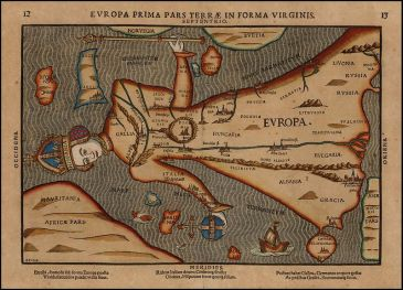 **Map of Europe shaped as a virgin | Author: Heinrich Bünting (1545–1606) Link back to Creator infobox template wikidata:Q99420| Date: 1582 | Source/Photographer:http://www.raremaps.com/gallery/archivedetail/21632/Europa_Prima_Pars_Terrae_In_Forma_Virginis_1548_Rare_Variant_edition/Bunting.html | Wikimedia Commons