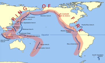 *******The Pacific Ring of Fire | Author: Gringer (talk) 23:52, 10 February 2009 (UTC) | Wikimedia Commons