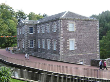 New Lanark World Heritage village in Scotland. A view of the school.