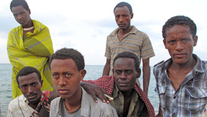 Photo: Kristy Siegfried/IRIN | Ethiopian migrants in Djibouti waiting for passage to Yemen