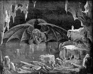 **Satan as depicted in the Ninth Circle of Hell in Dante Alighieri's Inferno, illustrated by Gustave Doré | scanned, post-processed, and uploaded by Karl Hahn. Paul Gustave Doré, 1832-1883 (artist); Dante Alighieri, 1265-1321 (creator) | public domain | Wikimmedia Commons