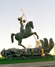 Sculpture depicting St. George slaying the dragon. The dragon is created from fragments of Soviet SS-20 and United States Pershing nuclear missiles. Credit: UN Photo/Milton Grant
