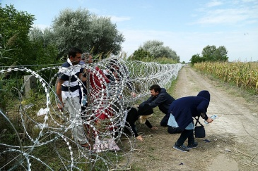 **Photo: Refugees cross into Hungary underneath the Hungary–Serbia border fence, 25 August 2015 | Author: Gémes Sándor/SzomSzed | Wikimedia Commons